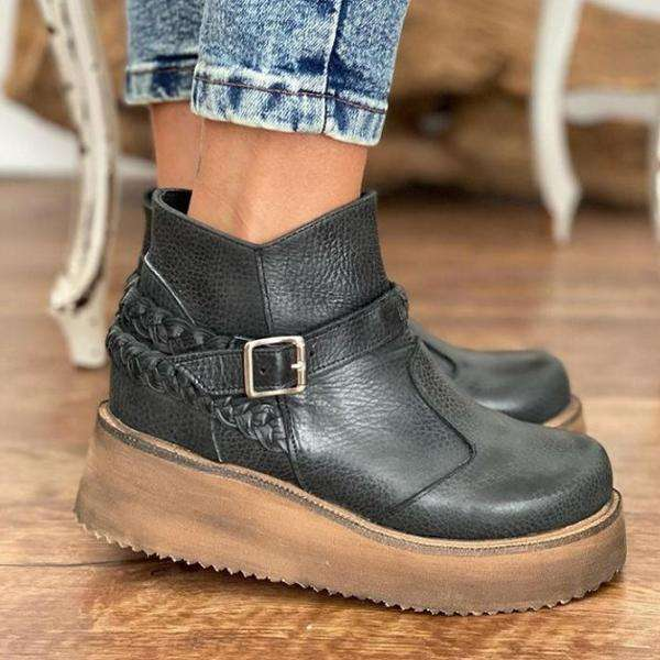 Thick Bottom Faux Leather Short Boots