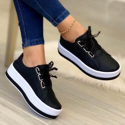 Women's Lace-up Leatherette Flat Heel Sneakers