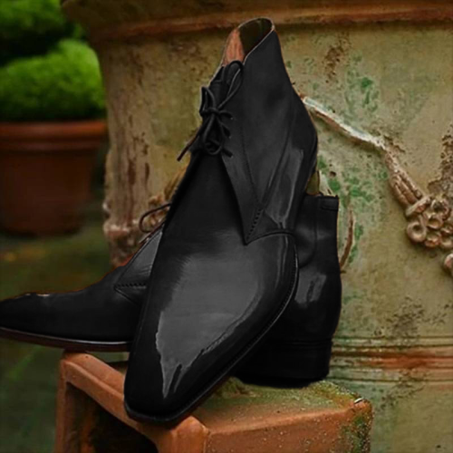 Men PU Leather Elegant Carved Chelsea Lace Up Boots
