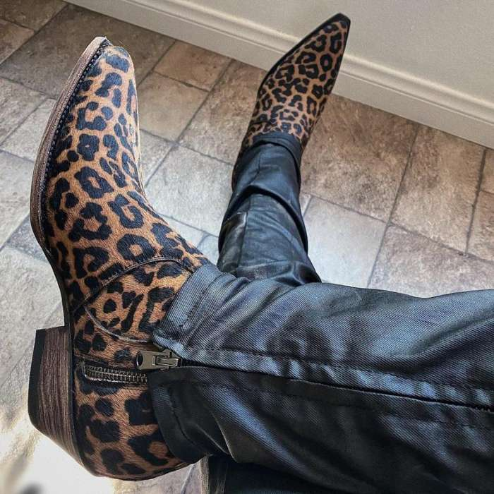 LEOPARD PRINT HIGH SIDE ZIPPER PULL ON ANKLE BOOT