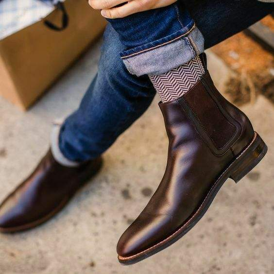Fashion Casual Leather High Cut Retro Business Short Boots