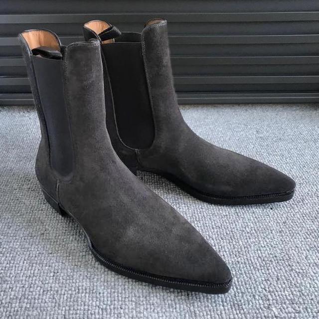Men's Grey Suede Beatles Boots