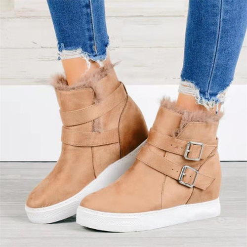Women's Buckle Cloth Flat Heel Boots