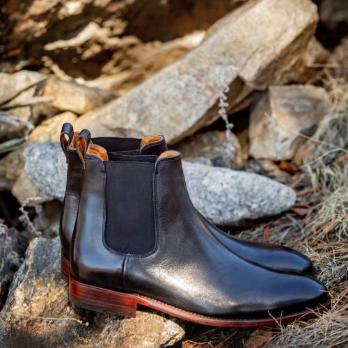 Retro Men Genuine Leather Pointed Toe High Quality Dress Boots
