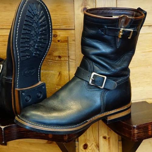 Men's Custom Black Diagonal Buckle Cowboy Boots
