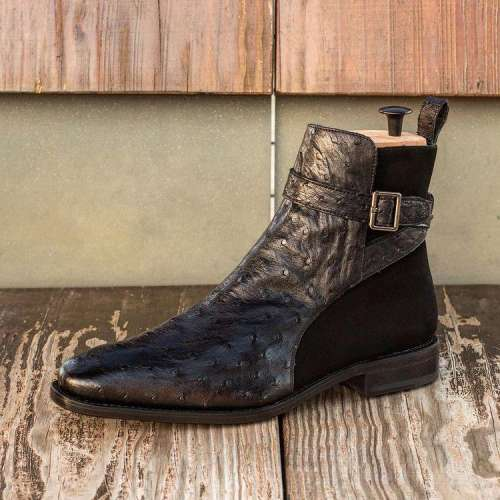 Black Side Buckle Ostrich Boots