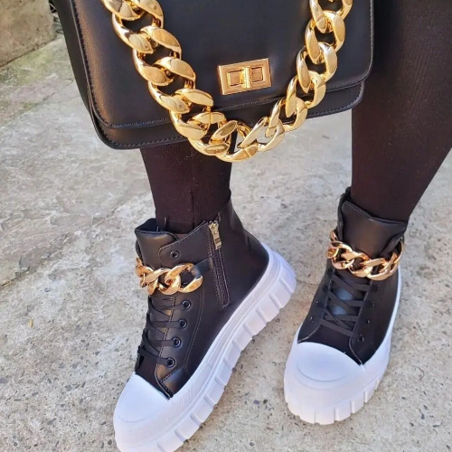 Thick-Soled Metal Chain Leather Sneakers