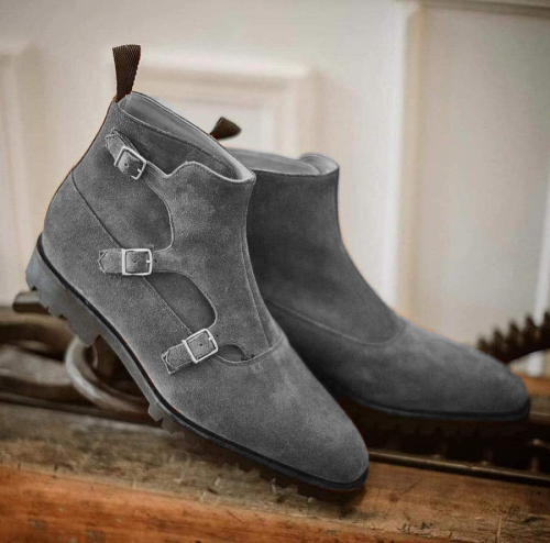 Men's Handmade Formal Leather Suede Mustered Triple Monk Boots