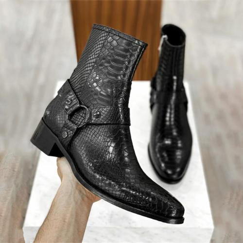 Handmade High-grade Black PU Python Pattern Belt Side Zipper Ankle Boots