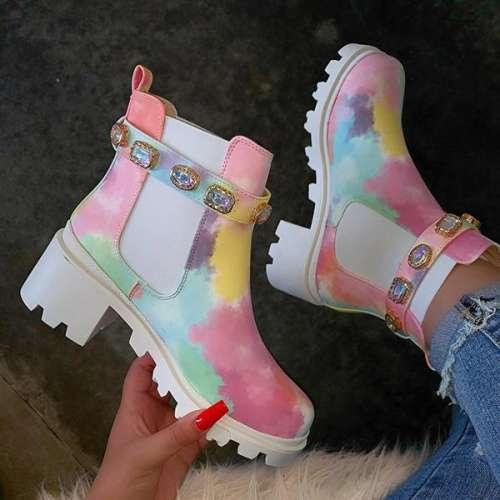 Rhinestone Martin Boots