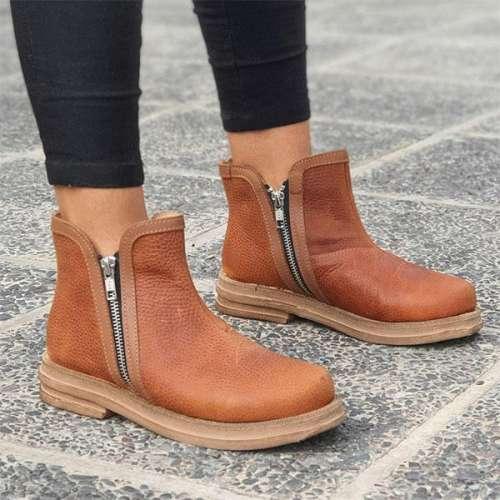Women Solid Color Zipper Ankle Booties