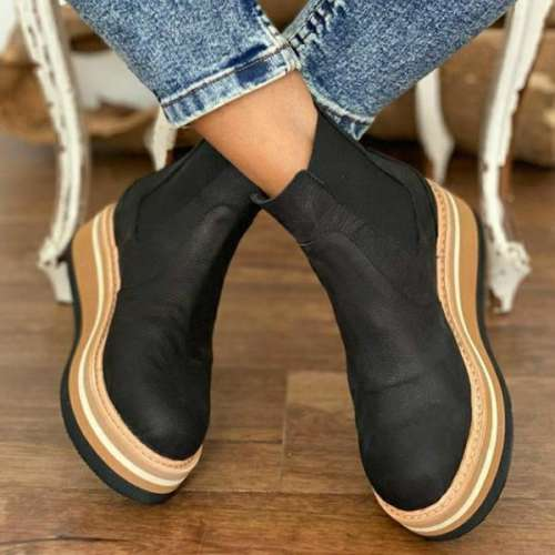 Casual Faux Leather Platform Boots
