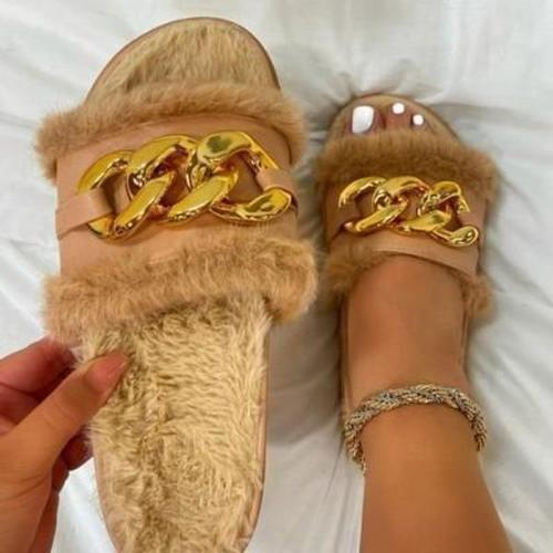 Metallic Fluffy Sandals