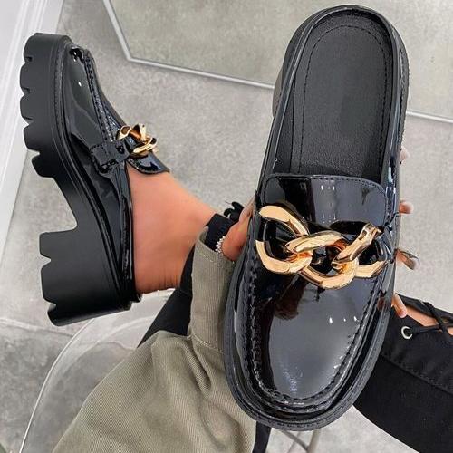 Round Toe Metal Chain Chunky Heel Shoes