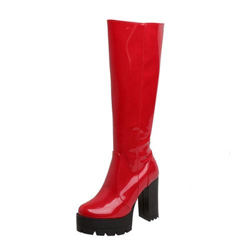 Block Heel High Boots
