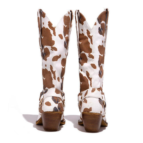 Suede Chunky Heel With Animal Print Shoes