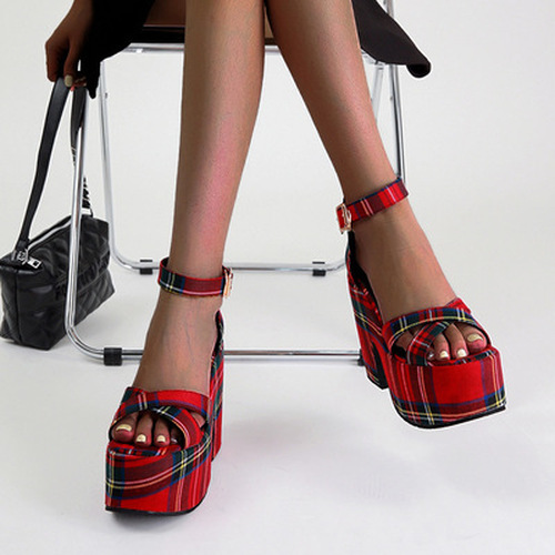 Platform Plaid Sandals