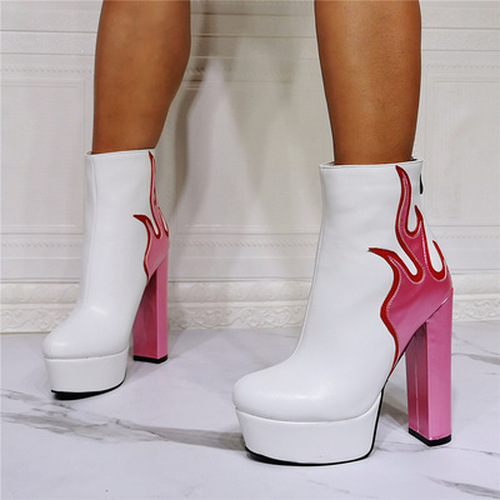 Sexy Flame Thick Heel Boots