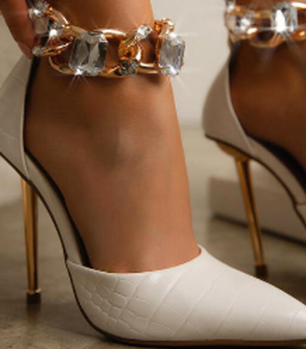 Rhinestone Metal Stiletto High Heels