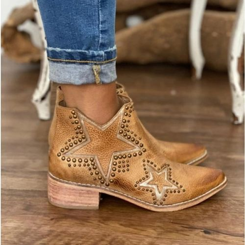 Pointed Toe Rivet Block Heel Ankle Boots