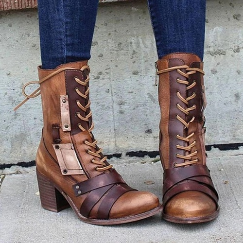 Vintage Lace-Up Pointed Boots