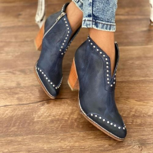 Faux Leather Pattern Wooden Chunky Heel Boots