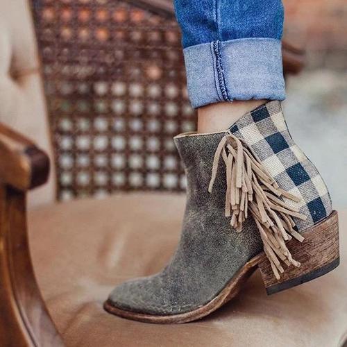 Chunky Heel  Leather All Season Tassel Boots