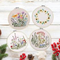 Beginner Embroidery Kit Bees and Wildflowers,Floral Embroidery Kit with Pattern,Hand Embroidery Kit Floral Sewing Gift, DIY Craft Kit