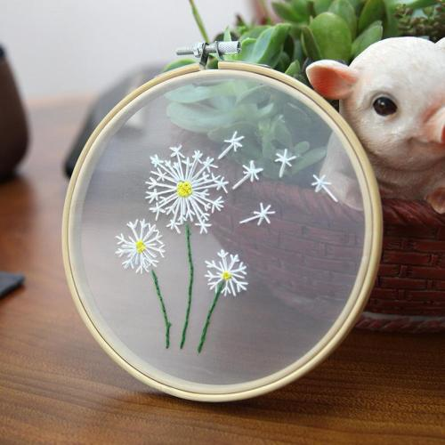 Plants Transparent Embroidery kit ,Flower diy Kit, Modern Flower Plant Hand Embroidery Full Kit,Diy Embroidery kit set - English Guide