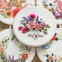 Hand Unicorn Embroidery Kit- Modern Floral Pattern - Hand Embroidery Full Kit - DIY Flower Embroidery Hoop Wall Art Kit -English Guide