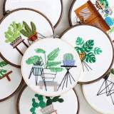 Embroidery Kit For Beginner  Modern Embroidery Kit with Pattern  Embroidery Hoop Plants  Craft Materials Included   Full DIY KIT Plants