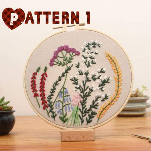 Embroidery Kit For Beginner Floral | Modern Plant Crewel Embroidery Kit with Pattern Embroidery Full Kit with Needlepoint Hoop DIY Craft Kit