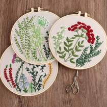 Embroidery Kit For Beginner Floral   Modern Plant Crewel Embroidery Kit with Pattern Embroidery Full Kit with Needlepoint Hoop DIY Craft Kit