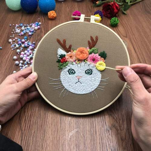 Cat Embroidery Kit For Beginner| Modern Embroidery Kit with Pattern| Embroidery Hoop Plants |Craft Materials Included | Full DIY KIT Gift