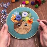 Cat Embroidery Kit For Beginner  Modern Embroidery Kit with Pattern  Embroidery Hoop Plants  Craft Materials Included   Full DIY KIT Gift