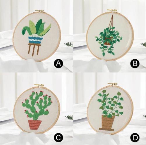 Embroidery Kit Beginner plants, embroidery kit home decor, cactus embroidery kit, diy Kit Embroidery scindapsus,diy Kit adult
