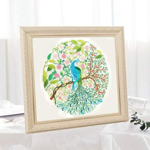 Embroidery Kit Beginner,Diy Craft Kit, Peacock embroidery kit , embroidery kit, diy Kit Embroidery,diy Kit adult, Mothers Day
