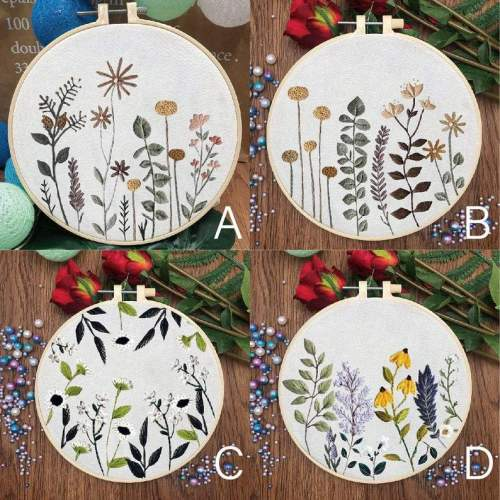 Embroidery Kit Beginner, embroidery kit floral, botanical herb embroidery kit, diy Kit Embroidery,diy Kit adult, Mothers Day