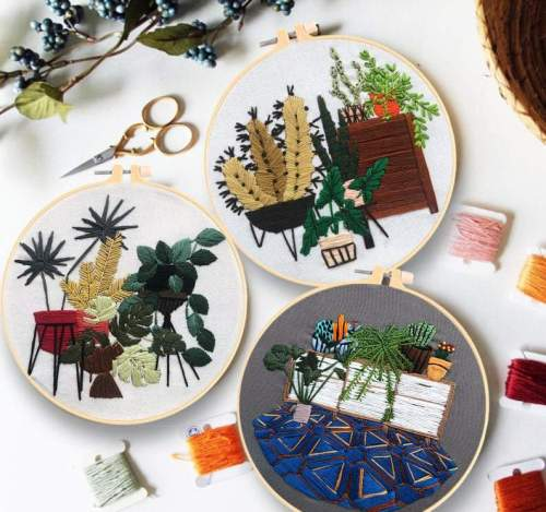 Embroidery Kit Beginner, diy kit embroidery plants, embroidery kit cacti, monstera embroidery kit, diy Kit Embroidery, diy Kit adult
