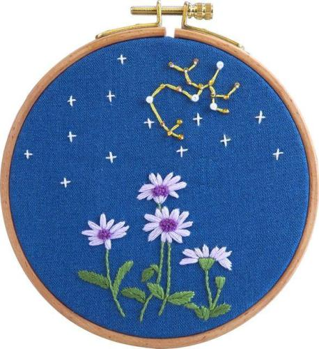 Embroidery Kit Beginner, embroidery kit mountain, diy Kit Embroidery Zodiac Constellation decor , hoop included diy Kit adult kids