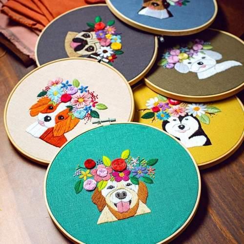 Diy Kit for adults, embroidery kit beginner dog, puppy embroidery kit, cute diy Kit Embroidery,diy Kit adult, gift for kids