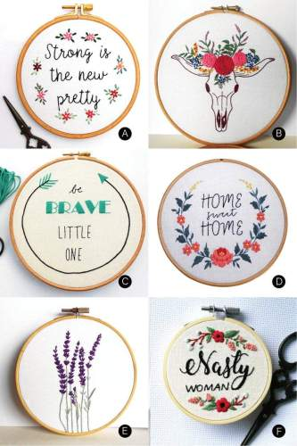 Diy Kit for adults, diy kit embroidery skull head, lavender embroidery kit, diy Kit Embroidery,diy Kit adult, Mothers Day