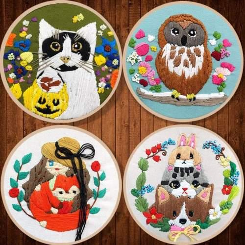 Embroidery Kit Beginner, embroidery kit animals , cat, owl,rabbits, fox embroidery kit, diy Kit Embroidery,diy Kit adult