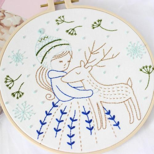 DIY Little Girl Embroidery Kit beginner, Beginner Embroidery kit, Modern embroidery kit cross stitch, Hand Embroidery Kit, Needlepoint, DIY Craft Kit