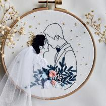 Wedding Embroidery Kit, Handmade Couple Embroidery Kits, Valentine's Day Gifts, Retro Romantic Couple Embroidery, DIY Floral Embroidery Kits