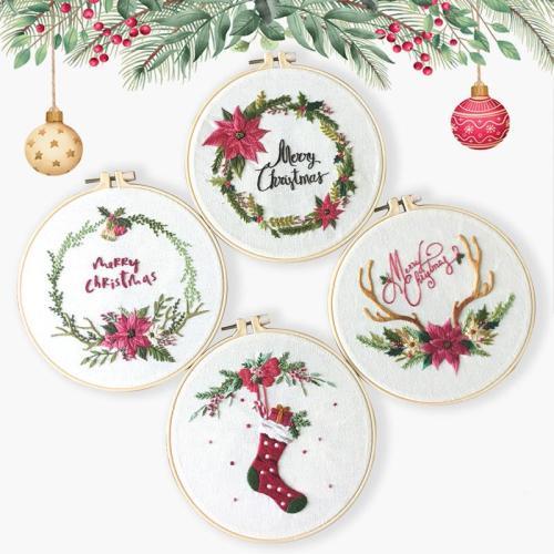 DIY Christmas Embroidery Kit beginner, Beginner Embroidery kit, Modern embroidery kit cross stitch, Hand Embroidery Kit, Needlepoint, DIY Craft Kit