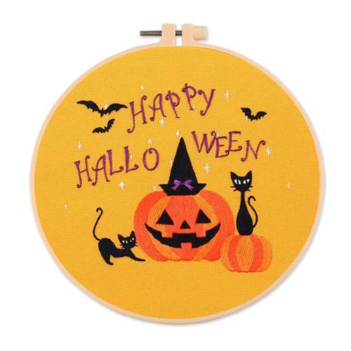 DIY Halloween Embroidery Kit beginner, Beginner Embroidery kit, Modern embroidery kit cross stitch, Hand Embroidery Kit, Needlepoint, DIY Craft Kit