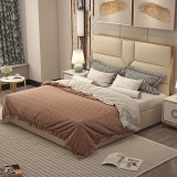Hot sale luxury bed stainless steel gold plated microfiber leather