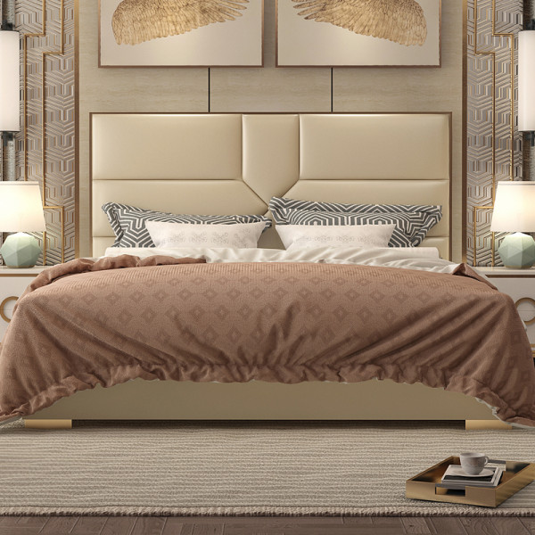 Light luxury bed bedroom series furniture with stainless steel gold plated superfine fiber leather