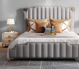 Luxury stainless steel gold - plated microfiber leather modern bed
